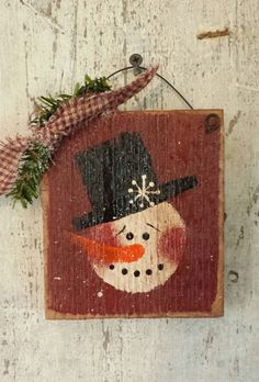 Primitive Snowman, Snowman,  Sign, Painted Snowman, Country Snowman, Snowman Sign,  Winter Decor,Christmas, Hand Painted, Wood, Barn Board by FlatHillGoods on Etsy