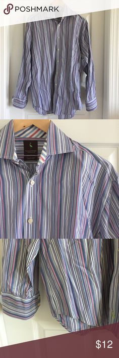TAILORBYRD MENS DRESS SHIRT Mens dress long sleeve shirt. Stripes with mixed shades of blue. Dry cleaned but needs pressing as it was boxed from the move. Perfect clean condition. Dry cleaned only. TAILORBYRD popular for its awesome design and prints. Tailorbyrd Shirts Dress Shirts