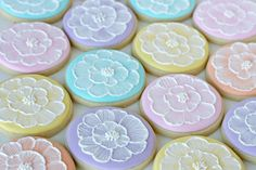 Pretty Pastel Brush Embroidery Cookies - glorioustreats.com