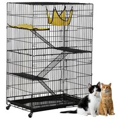<br/>Large cat cage made of premium iron wire frame and flannelette, durable and sturdy<br/>Features with 3 ample benches, 2 soft and warm hammocks and 3 ladders<br/>Comes with thoughtful door latches for easy to open and close and added safety<br/>Large easy-to-clean slid-out tray closely attached by an artful locking buckle<br/>4 Heavy duty casters ensure it easy for mobility<br/>2 Swing-open front doors make it easy to acces...