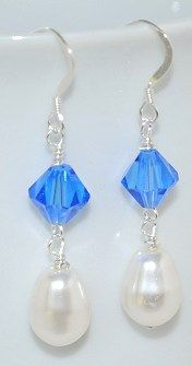 The pear-shaped pearls are perfect in these beautiful earrings! Shown with Swarovski Sapphire crystals, they would look great in any color! Project #95 on the Idea page!