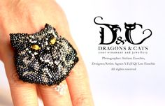 Cat ring/brooch/pendant  multi use seed bead. For more my artwork, please visit: https://www.facebook.com/dragons.and.cats #seedbead #embroidery #cat #ring #pendant #brooch