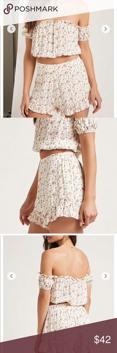 Floral Crop Top and Shorts Set A floral print woven matching set featuring a crop top with an elasticized off-the-shoulder neckline and hem, short sleeves, ruffle trim, and a button down placket, as well as a pair of shorts with a partially elasticized waist, high-waist, and a ruffle trim Pants Jumpsuits & Rompers
