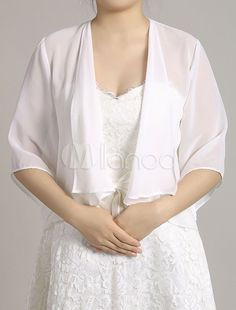 Chiffon Wedding Jacket Bolero White Half Sleeve Open Front Bridal Party Jacket Top - Milanoo.com