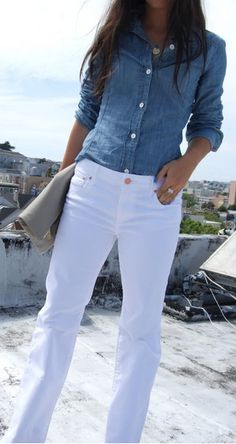 White Denim ~ Chambray Shirt ~ Nantucket Style