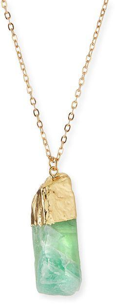 Panacea Long Green Quartz Pendant Necklace