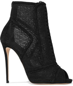 Dolce & Gabbana - Embroidered Mesh And Suede Peep-toe Ankle Boots - Black Black Peep Toe Boots, Shoes Boots Ankle, Black Platform Boots, Short Black Boots, Black Suede Boots, High Heel Boots, Black Booties, Suede Booties, Ankle Booties
