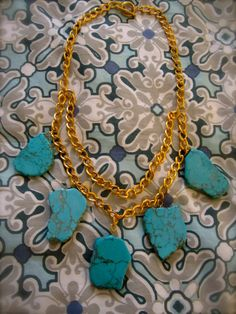 Chunky Turquoise Necklace. Have a few of these left at Trendswelove.com!