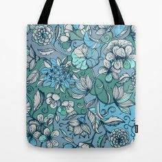 Hand drawn Floral in Blue, Grey & Mint Green Tote Bag by micklyn - $22.00