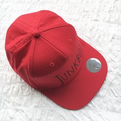 Red UNISEX snapback baseball cap retro cap by JunkboxCouture