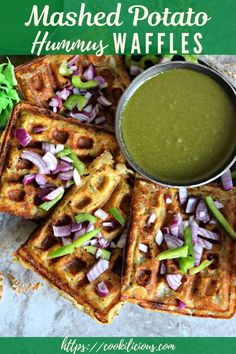 This is a hearty breakfast recipe! Savory waffles made with hummus flavored mashed potatoes are crispy and delicious. Mornings just got better with this! Vegan Breakfast Recipes, Vegan Snacks, Brunch Recipes, Breakfast Snacks, Breakfast Ideas, Delicious Snacks, Vegan Food, Potato Waffles, Savory Waffles