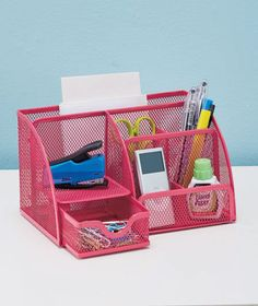 PINK MESH OFFICE SUPPLY METAL PEN PHONE HOLDER DEN DESK TABLE KITCHEN ORGANIZER