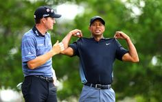 Tiger Woods and Jimmy Walker wait in the heat to hit from the #4 tee in the 2015 Masters Round 2