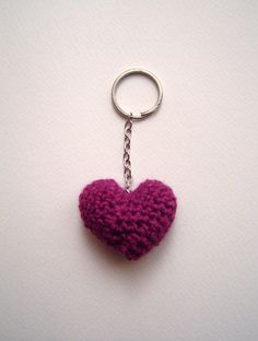 Crochet 3D heart keychain in the color of your choice! A great present for Valentine's day!     Valentine's Heart Crochet Keychain by ErgoheiroStudio on Etsy, €3.50 $4,6