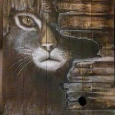 """Tableau sur palette bois """"chat"""""""