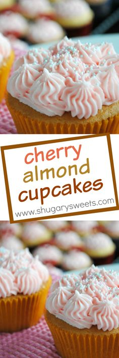 Cherry Almond Cupcake: sweet almond cupcakes with a creamy cherry frosting! Frosting Recipes, Cupcake Recipes, Dessert Recipes, Cupcake Ideas, Almond Cupcakes, Yummy Cupcakes, Oreo Cupcakes, Gourmet Cupcakes, Mini Cakes