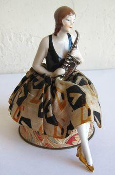Antique Art Deco German Porcelain Bisque Flapper Half Doll w Legs Saxophone | eBay