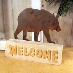 Welcome Patina Bear on Slate Etched Sign - $38.50