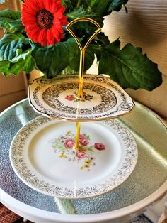 2 Tiered Stand/ French Saxon and Queen Anne/ Austin Texas Stands/ She Shed/ Cake Stand/ Cupcake Stand/ Spring/ Gift for Mother/ Her Vintage Plates, Vintage China, Vintage Tea, Metal Cake Stand, Teacup Candles, Tiered Stand, Square Plates, Queen Anne, Mother Gifts
