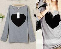 Envío gratis 2015 del amor del corazón impreso apliques Tees mujeres cuello redondo T-shirt de algodón Tops BlendsShirt camisetas de la blusa S-XL