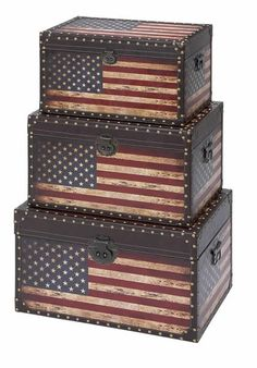 Leather and Wooden Trunk Set with American Flag Patriotic Design