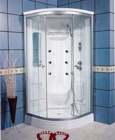 Corner Units Steam Fiberglass Showers With Blue Ceramic Wall, fiberglass shower stall, fiberglass shower stalls ~ Home Design Corner Shower Units, Corner Shower Stalls, Modern Small Bathrooms, Bathroom Design Small, One Piece Shower, Shower Repair, Master Bathroom Shower, Bath Shower, Black Toilet