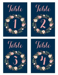 This is printable navy and pink table number card set (number 1 to 20) great for wedding, party, baby shower.  Each table number card measures 3.5