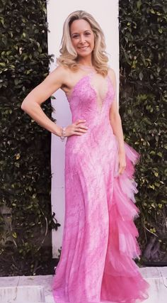 """Vanessa in her custom """"Pink Breast Cancer Awareness"""" Vermeulen creation. Strapless Dress Formal, Prom Dresses, Formal Dresses, Breast Cancer Awareness, Celebrities, My Style, Pink, Fashion, Dresses For Formal"""