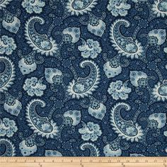 Waverly Little Falls Paisley Indigo from @fabricdotcom  Screen printed on (approx. 6.5 ounce) cotton duck, this versatile, medium weight fabric is perfect for window accents (draperies, valances, curtains and swags), accent pillows, bed skirts, duvet covers, slipcovers, upholstery and other home decor accents. Create handbags, tote bags, aprons and more. Colors include ivory and shades of blue.