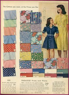 1940's fashion sears catalogue  fab fabrics cotton prints.