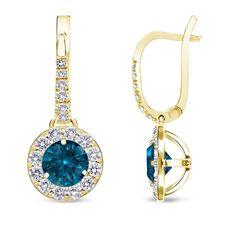 Auriya 14k Gold 1/2ct to 2ct TDW Blue Diamond Leverback Earrings