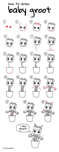 How to draw Baby Groot (baby plant). Easy drawing, step by step directions from an easy to follow YouTube video. Perfect for kids! letsdrawkids.com/