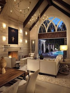 Gothic Decor - beautiful lounge with a lovely doors outsite