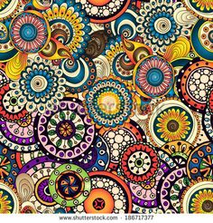 Seamless doodle flower background in vector. Used Clipping mask for easy editing. – stock vector Seamless asian ethnic floral retro doodle background…We giving the best product editing service ever. Ethnic Patterns, Tile Patterns, Pattern Art, Zentangle Patterns, Flower Doodles, African Masks, Motif Floral, Flower Backgrounds, Mandala Art