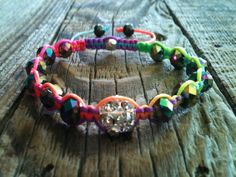 Rainbow Macrame Pave Crystal Bracelet CHILD SIZE by ShamballaStyle, $8.99