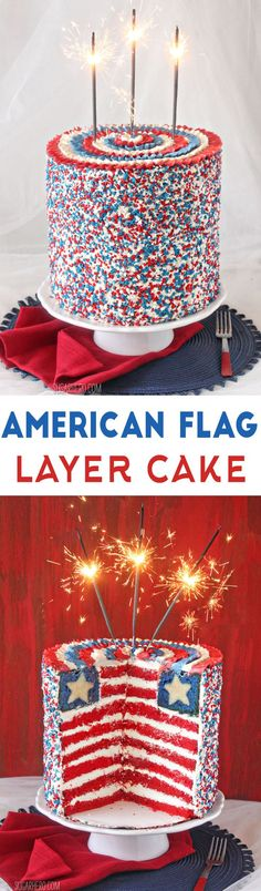 American Flag Layer Cake - a giant sky-high cake with a surprise American flag design inside! | From http://SugarHero.com