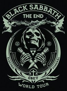 Shepard Fairey Black Sabbath Poster The End 2016 Fall Tour. Size of the poster is 18 x 24 Inches. This is a Color Silk Screened Print with Silver Metallic Ink. Pop Posters, Band Posters, Concert Posters, Music Posters, Woodstock, Rock Bands, Metal Bands, Michael Jordan Wings, Black Sabbath The End