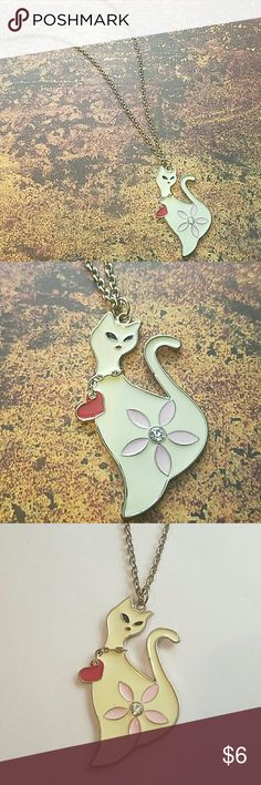 """Cat Lovers Enamel Pendant Necklace If you love cats....this is a must have! Adorable goldtone pendant & chain with lobster clasp closure. 26"""" chain +3"""" extender chain  2.25"""" pendant Item#N199  *ALL JEWELRY IS NWT/NWOT/UNUSED VINTAGE*             25% OFF BUNDLES OF 3 OR MORE ITEMS! Jewelry Necklaces"""