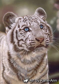 Tiger painting in pastel. Original wildlife art by artbykarieann
