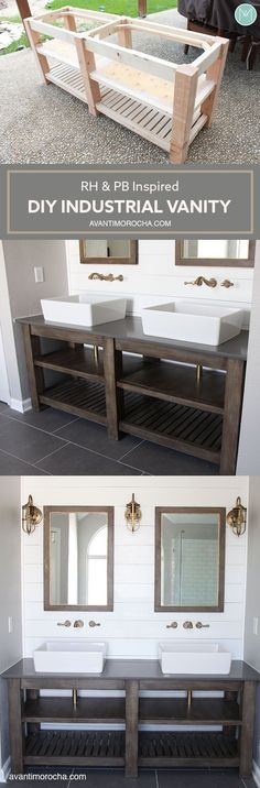 DIY Industrial Bathroom Vanity - Avanti Morocha Guest Bath vanity idea - one sink model Industrial Bathroom Vanity, Diy Bathroom Vanity, Bathroom Mirrors, Bathroom Ideas, Barn Bathroom, Bathroom Pink, Diy Vanity, Wood Vanity, Master Bathroom