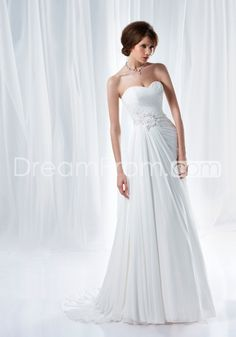 Elegant A-Line Sweetheart Floor-Length Court Appliques Wedding Dresses