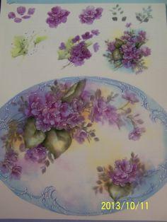 "China Painting Study ""Double Violets"" Judy Lehman | eBay"