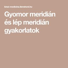 Gyomor meridián és lép meridián gyakorlatok Keto, Medicine