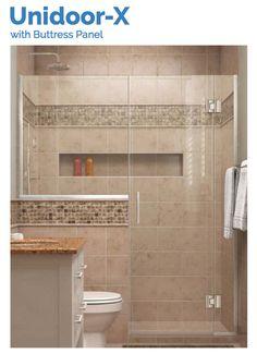 DreamLine Unidoor-X | 71 to 71-1/2 Hinged Shower Door | Chrome Bathroom Renos, Bathroom Renovations, Bathroom Interior, Bathroom Makeovers, Bathroom Ideas, Gold Bathroom, Bathroom Organization, Small Bathroom Showers, Peach Bathroom
