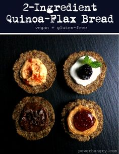 flax quinoa bread       2 cups cooked, cooled quinoa     ⅓ cup water     ½ cup ground flaxseed meal     ½ teaspoon fine sea salt