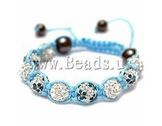 rhinestone pave bead Shamballa Bracelet, with Nylon Cord & Non-magnetic Hematite, woven http://www.beads.us/product/Rhinestone-Pave-Bead-Shamballa-Bracelet_p64409.html