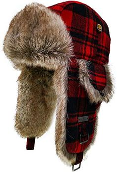 Mens trapper hat bomber hat DOGTOOTH TWEED FAUX FUR TRIM SIZES 58 59 OR 60CM