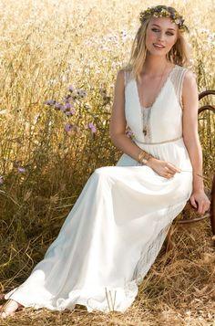 Rembo styling — Kollektion 2017 — Faubourg: Boho crepe Kleid mit kleiner Spitzenborte in der Taille, feinem Spitzenoberteil und wunderschönem Rückenausschnitt