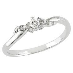 Allura 1/10 CT. T.W. Diamond Engagement Ring in 10k White Gold (Ghi I2;I3), Women's, Size:
