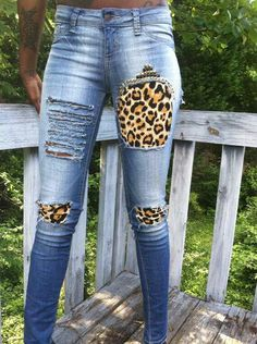 Riped leopard jeans